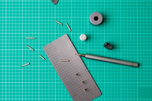 A top view flat lay of diy do it yourself tools instrument equipment