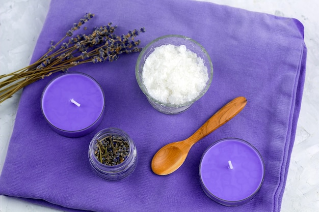 Top view flat lay lavender spa set