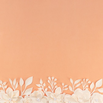 Top view floral frame with orange background