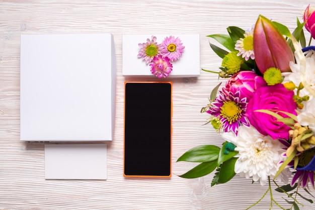 Top view floristic workspace