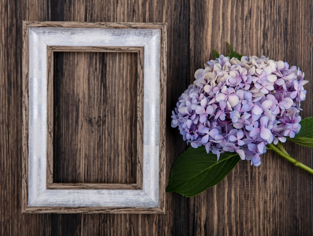 Top view of flower and frame on wooden background with copy space
