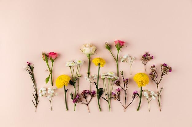 테이블에 상위 뷰 꽃 컬렉션