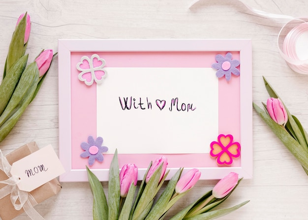 Top view flowers and frame arrangement