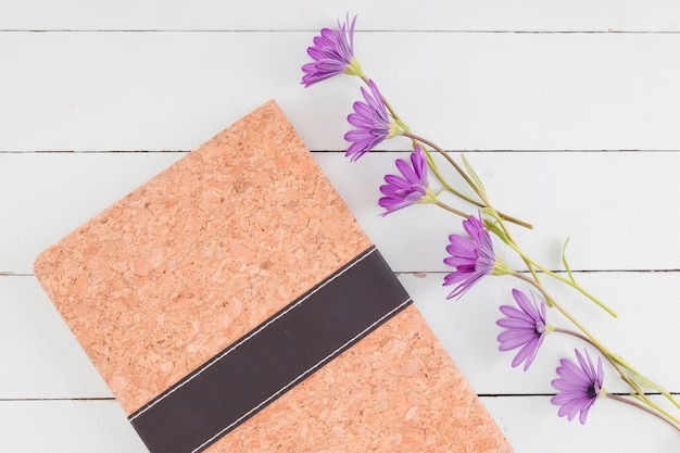 Top view flowers line on wooden background