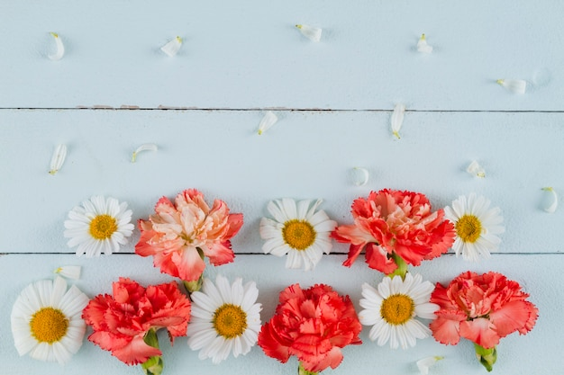 Top view flowers on wooden background