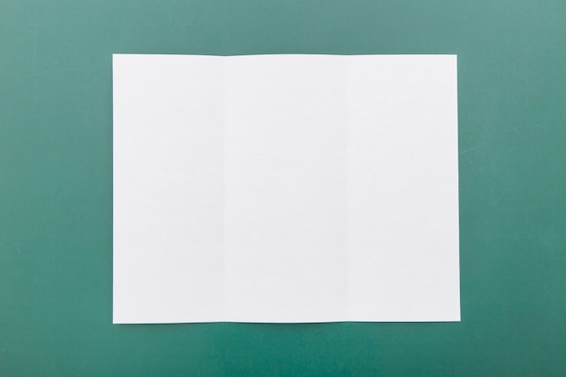 Top view folded white brochure