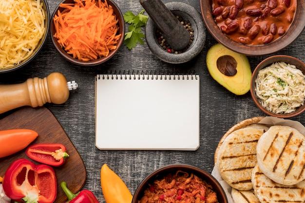 上面図の食品とノートブックの配置