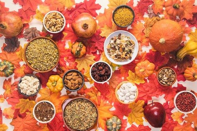 Top view food arrangement on colourful background