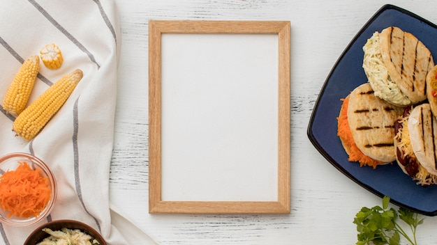 Top view food assortment with frame