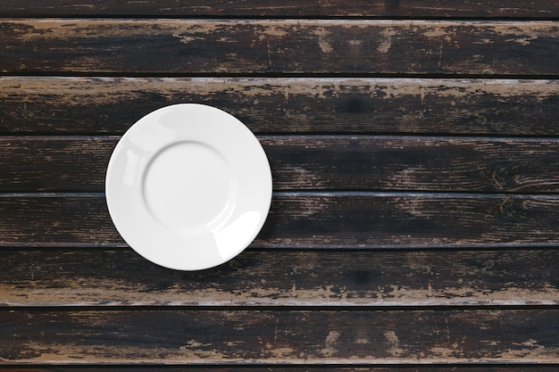 Top view food ceramic plate 3d render isolated on wooden