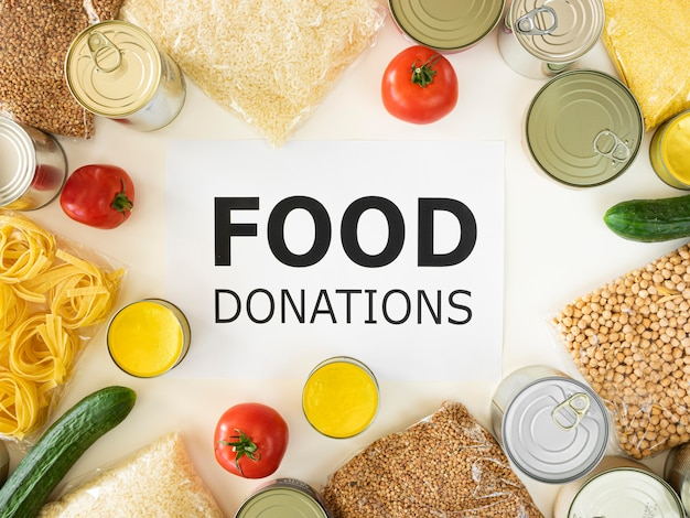 Top view of food for donation