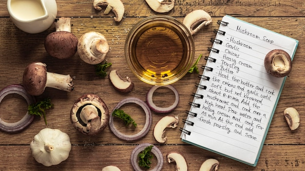 Top view of food ingredients with mushroom and oil