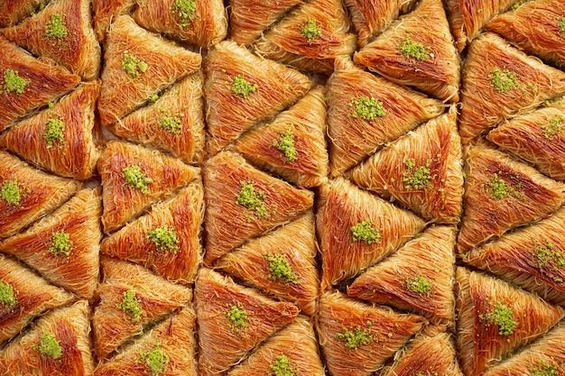 터키 바클라바의 상위 뷰 음식 패턴 질감