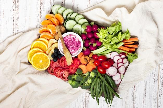 Top view food platter arrangement