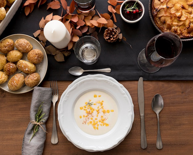 Top view food preparations for thanksgiving day