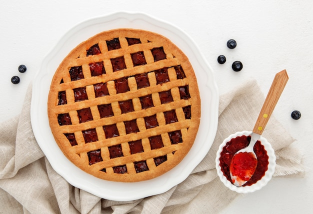 Top view forest fruit jam pie
