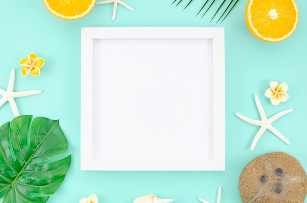 Top view frame at blue mint background. travel mockup