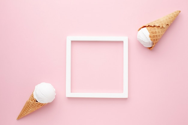 Top view frame and ice cream