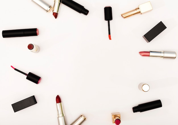 Top view frame of lipsticks