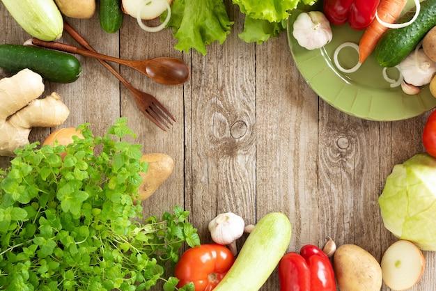 野菜のトップビューフレーム
