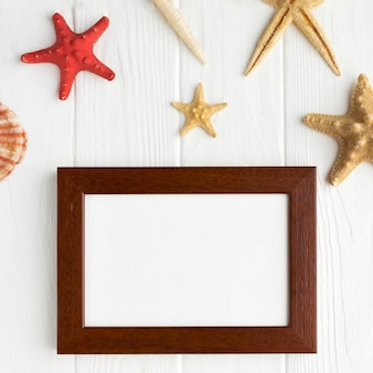 Top view frame surrounded by starfish