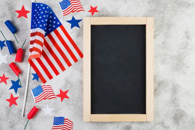 Top view of frame and usa attributes