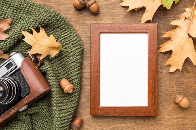Top view of frame with autumn leaves and camera