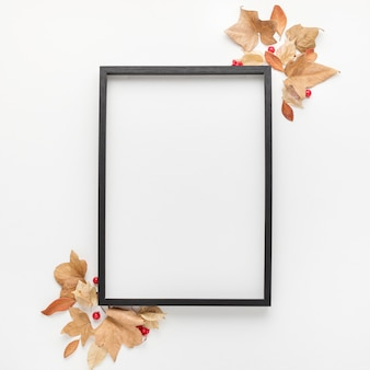 Top view of frame with autumn leaves