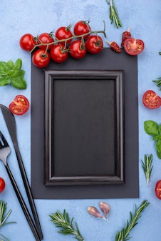 Top view frame with cooking ingredients