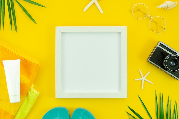 Top view frame with copy space for mockup. summer concept
