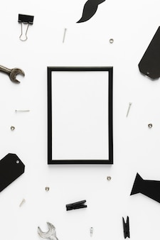 Top view frame with fathers objects
