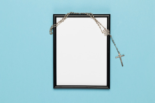 Top view frame with holy necklace