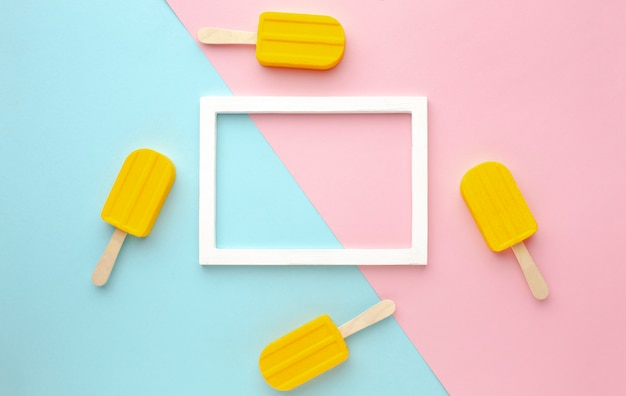 Top view frame with ice creams