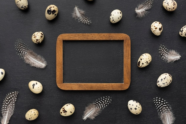 Top view frame with quail eggs