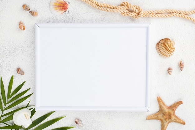 Top view frame with starfish beside