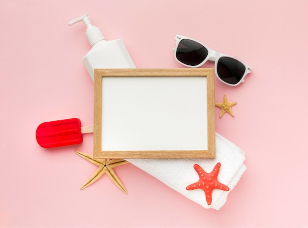 Top view frame with summer accessories