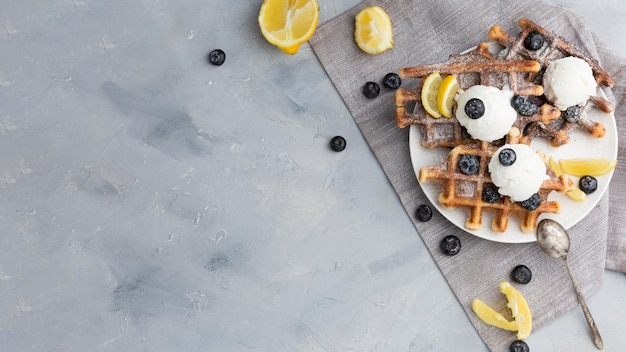 Top view frame with waffles