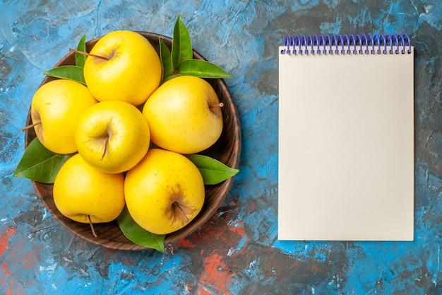 Vista dall'alto mele fresche all'interno del piatto con blocco note su sfondo blu dieta sana matura colore ripe