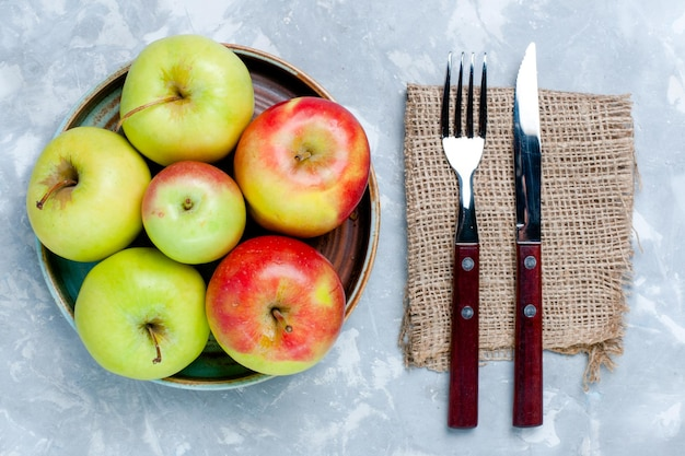 위쪽 보기 신선한 사과는 밝은 흰색 표면에 과일을 부드럽게 합니다.