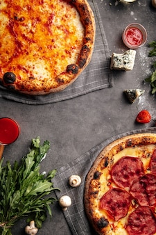 Top view on fresh baked neopolitan pizzas