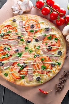 Top view of fresh baked pizza