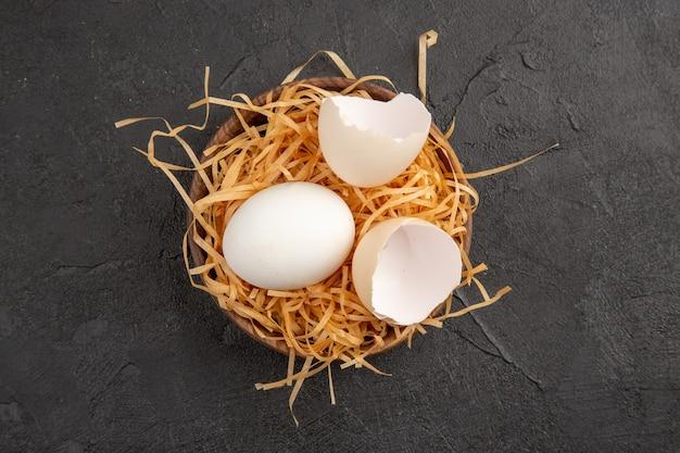 상위 뷰 회색 배경에 신선한 닭고기 달걀 사진 음식 식사 아침 식사 동물 차 색상 농장 아침
