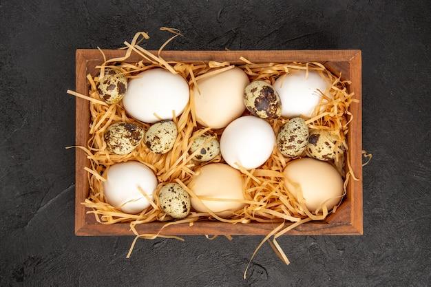 어두운 배경 사진 음식 식사 아침 식사 동물 색 아침 차에 상자 안의 상위 뷰 신선한 닭고기 달걀