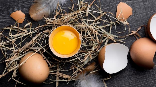 トップビューの新鮮な鶏の卵