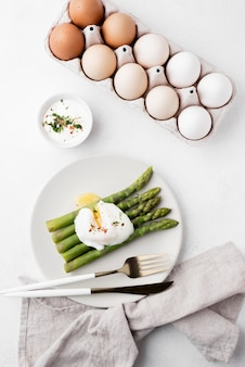 Top view fresh chicken eggs