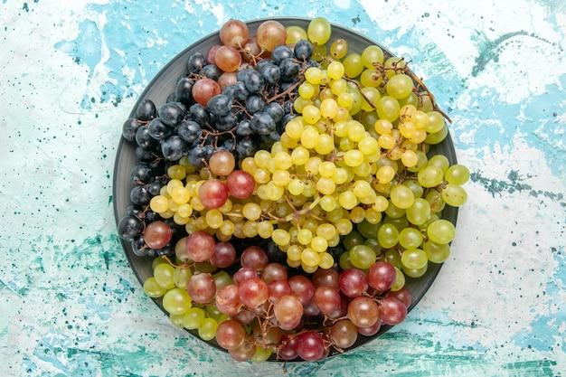 Vista dall'alto uva fresca colorata frutta succosa e pastosa sulla superficie azzurra bacca di frutta fresca mellow succo di vino