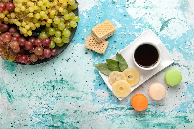 Vista dall'alto uva fresca colorata frutta succosa e pastosa con una tazza di tè sulla superficie azzurra frutti di bosco freschi succhi di frutta vino