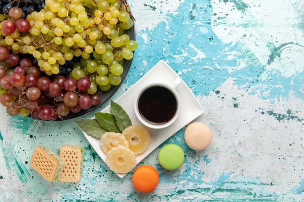 Top view fresh colored grapes with cup of tea macarons and waffles on light blue background fruits cookie sugar sweet cake bake pie