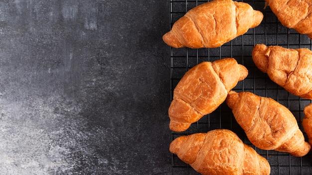 Top view fresh croissants