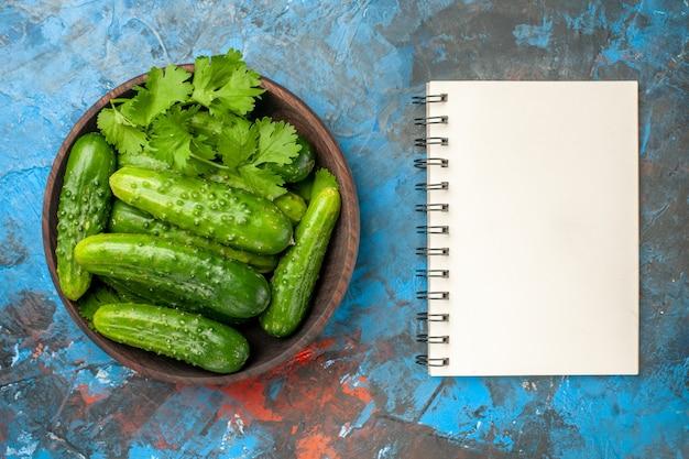 Vista dall'alto cetrioli freschi all'interno del piatto con blocco note su sfondo blu colore foto insalata matura pasto alimentare